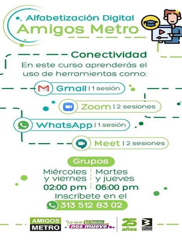 Inscríbete en Alfabetización Digital, un curso de Amigos Metro para conectar a toda la ciudadanía