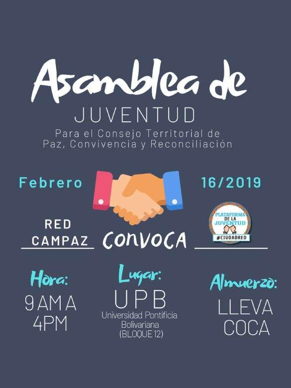 Estás invitado a la Asamblea de Juventud para el Consejo Territorial de Paz, Convivencia y Reconciliación