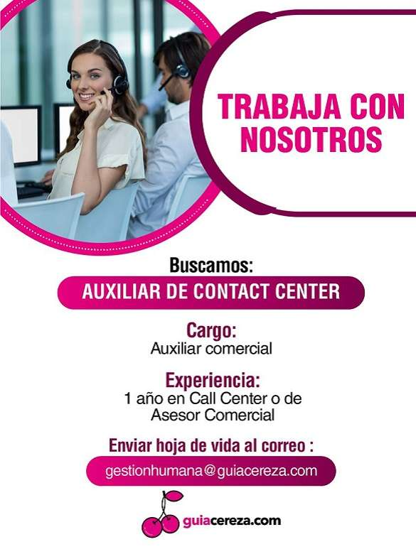 Buscan Auxiliar de Contact Center