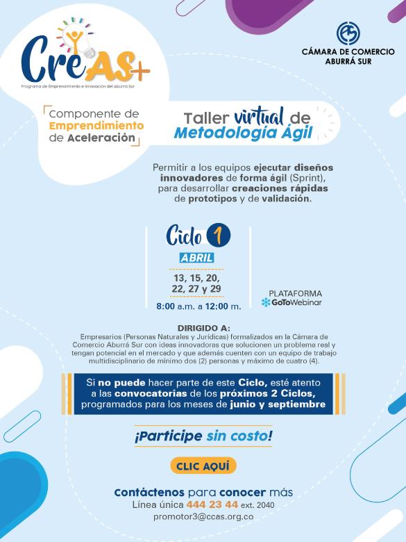 Participa en el taller virtual de metodología ágil para emprendedores y emprendedoras