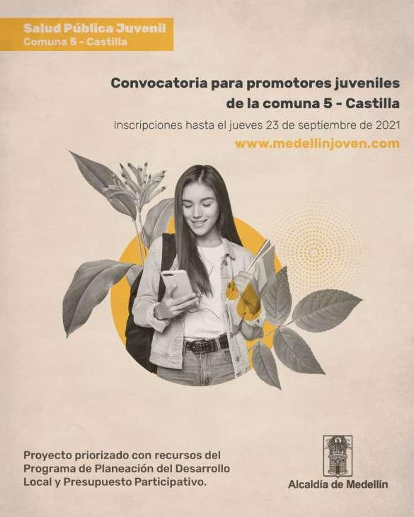 Postúlate a la convocatoria para promotores juveniles de la comuna 5 - Castilla