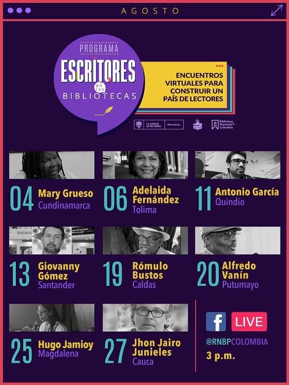 Únete a los encuentros virtuales del programa 'Escritores en las bibliotecas' para construir un país lector