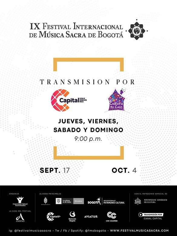 Conéctate a las transmisiones del IX Festival Internacional de Música Sacra de Bogotá:Esperanza y Oasis en 2020
