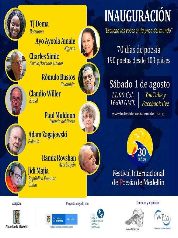 Desde el 1° de agosto, conéctate con la programación del 30° Festival Internacional de Poesía de Medellín
