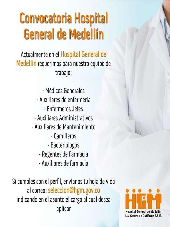 Postúlate a la convocatoria abierta para profesionales del sector salud del Hospital General de Medellín