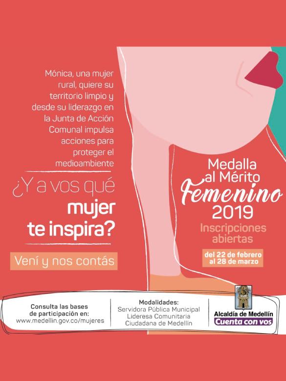 ¡Ya está abierta la convocatoria para postular mujeres al reconocimiento Medalla al Mérito Femenino 2019!