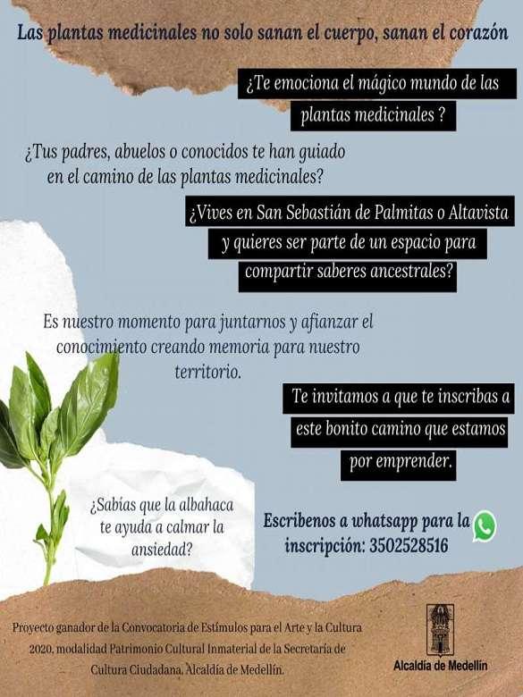 ¿Vives en Palmitas o Altavista y quieres compartir saberes sobre plantas medicinales? Esta es tu oportunidad