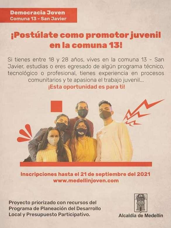 ¡Se buscan promotores juveniles en la comuna 13 - San Javier!