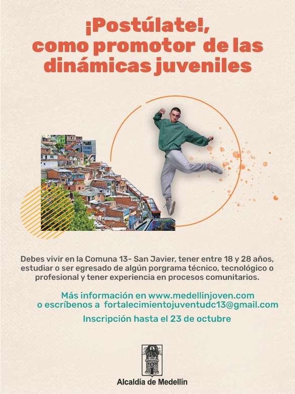 Te estamos buscando para que seas promotor/a juvenil de la Comuna 13 - San Javier