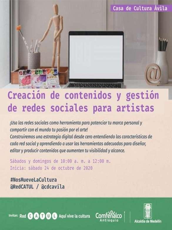 Inscríbete en el taller de creación de contenidos y gestión de redes sociales para artistas